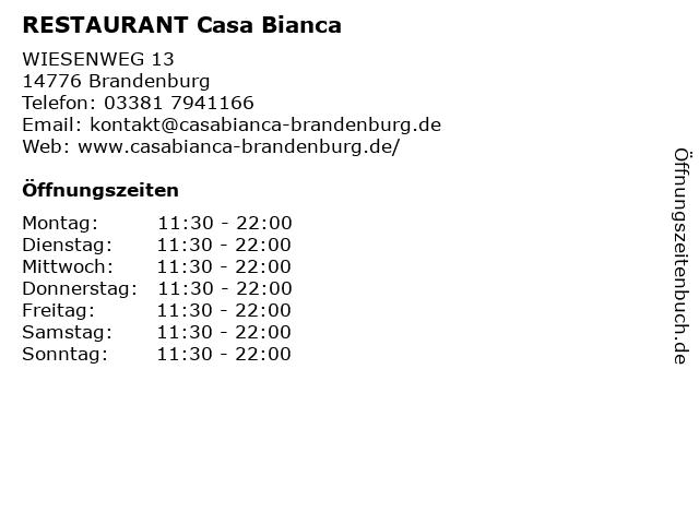 RESTAURANT Casa Bianca in Brandenburg: Adresse und Öffnungszeiten