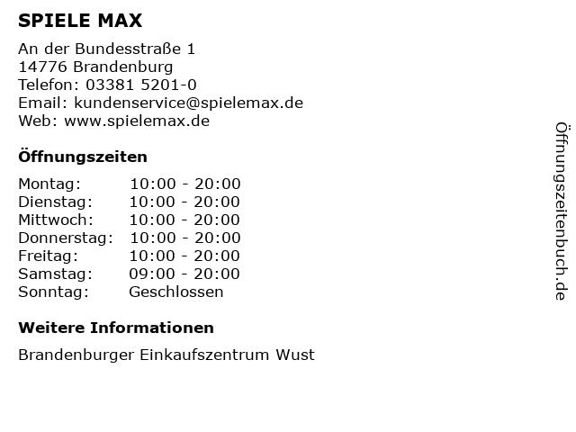 SPIELE MAX AG in Brandenburg: Adresse und Öffnungszeiten