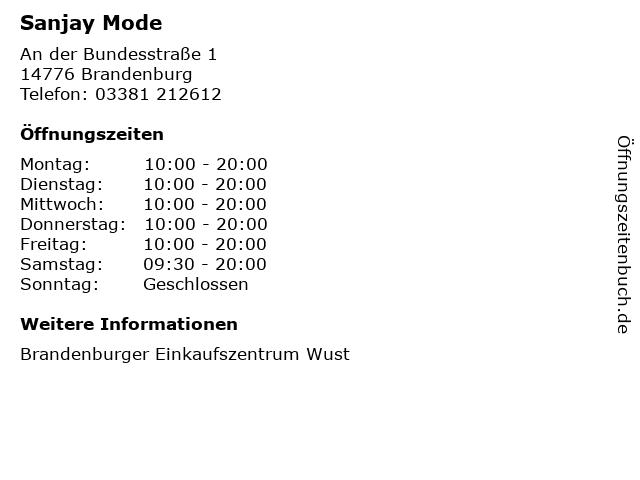Sanjay Mode in Brandenburg: Adresse und Öffnungszeiten