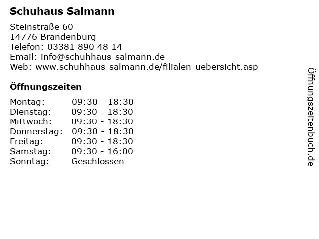 Schuhaus Salmann in Brandenburg: Adresse und Öffnungszeiten
