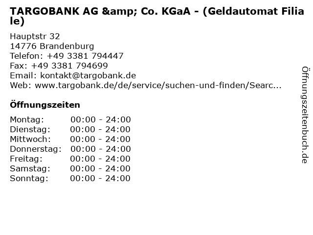 TARGOBANK AG & Co. KGaA - (Geldautomat Filiale) in Brandenburg: Adresse und Öffnungszeiten