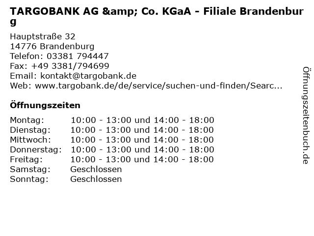 TARGOBANK AG & Co. KGaA - Filiale Brandenburg in Brandenburg: Adresse und Öffnungszeiten