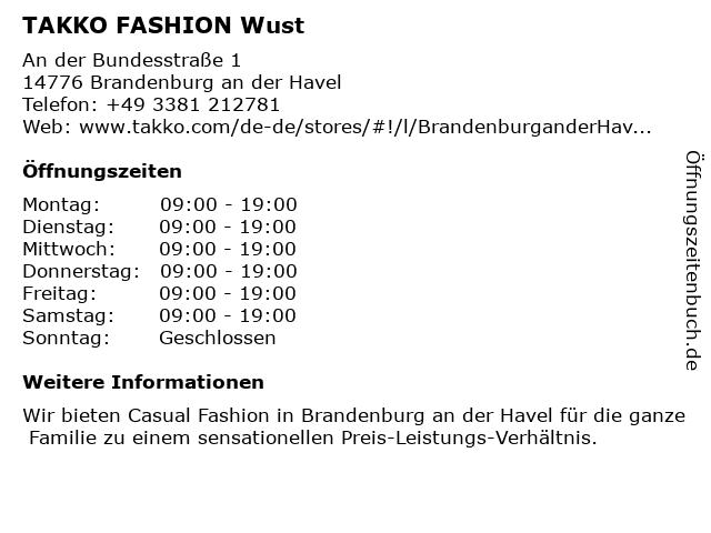 Takko Fashion in Brandenburg: Adresse und Öffnungszeiten
