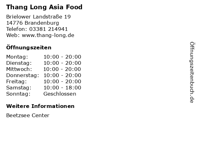 Thang Long Asia Food in Brandenburg: Adresse und Öffnungszeiten
