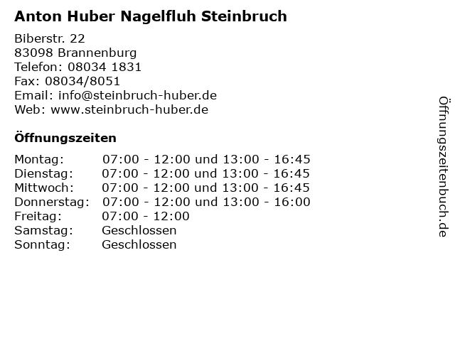 Anton Huber Nagelfluh Steinbruch in Brannenburg: Adresse und Öffnungszeiten