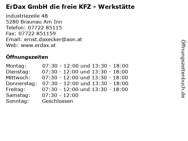 ErDax GmbH die freie KFZ - Werkstätte in Braunau Am Inn: Adresse und Öffnungszeiten