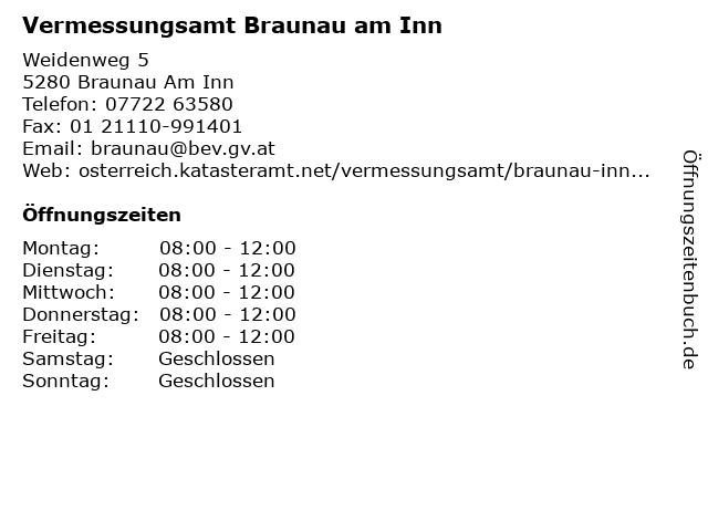 Vermessungsamt Braunau am Inn in Braunau Am Inn: Adresse und Öffnungszeiten