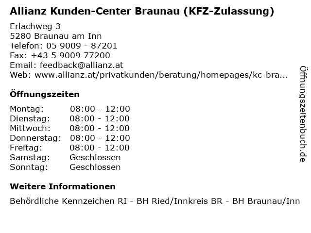 Allianz Kunden-Center Braunau (KFZ-Zulassung) in Braunau am Inn: Adresse und Öffnungszeiten