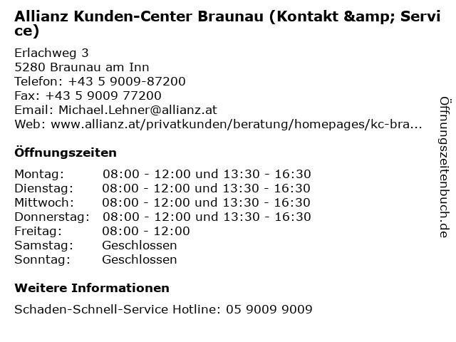 Allianz Kunden-Center Braunau (Kontakt & Service) in Braunau am Inn: Adresse und Öffnungszeiten