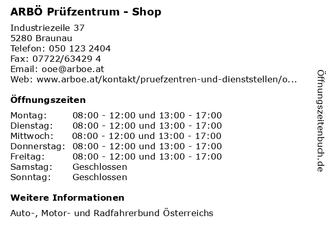 ARBÖ Prüfzentrum - Shop in Braunau: Adresse und Öffnungszeiten