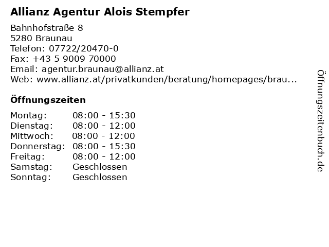 Allianz Agentur Alois Stempfer in Braunau: Adresse und Öffnungszeiten