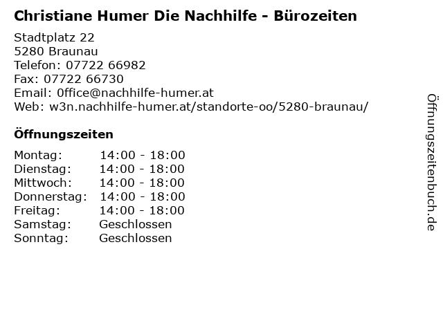 Christiane Humer Die Nachhilfe - Bürozeiten in Braunau: Adresse und Öffnungszeiten