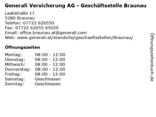 Generali Versicherung AG - Geschäftsstelle Braunau in Braunau: Adresse und Öffnungszeiten