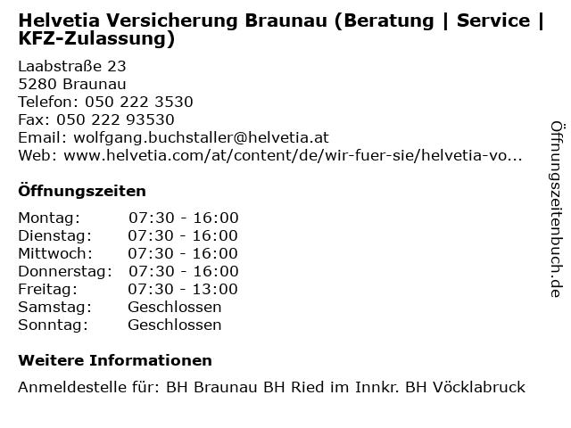 ᐅ öffnungszeiten Helvetia Versicherung Braunau Beratung Service