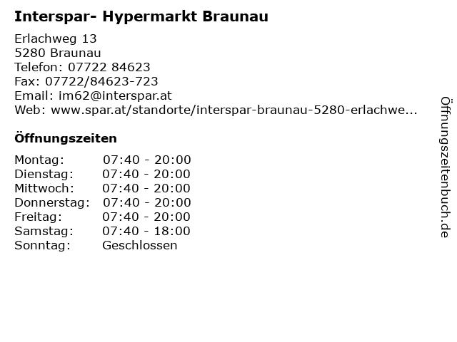 Interspar- Hypermarkt Braunau in Braunau: Adresse und Öffnungszeiten