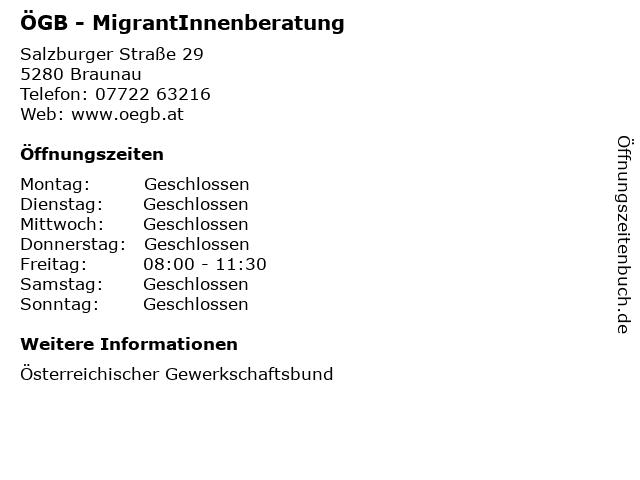 ÖGB - MigrantInnenberatung in Braunau: Adresse und Öffnungszeiten