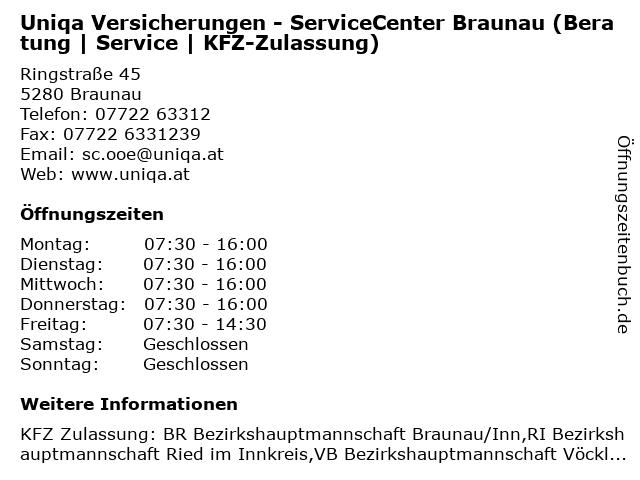 Uniqa Versicherungen - ServiceCenter Braunau (Beratung | Service | KFZ-Zulassung) in Braunau: Adresse und Öffnungszeiten