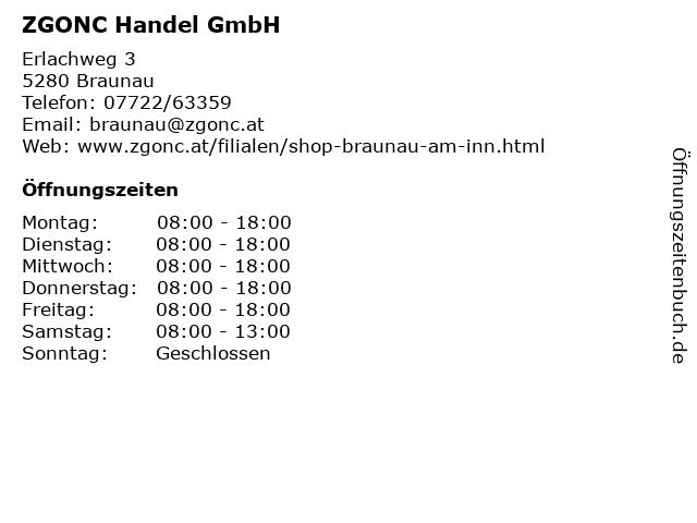 ZGONC Handel GmbH in Braunau: Adresse und Öffnungszeiten