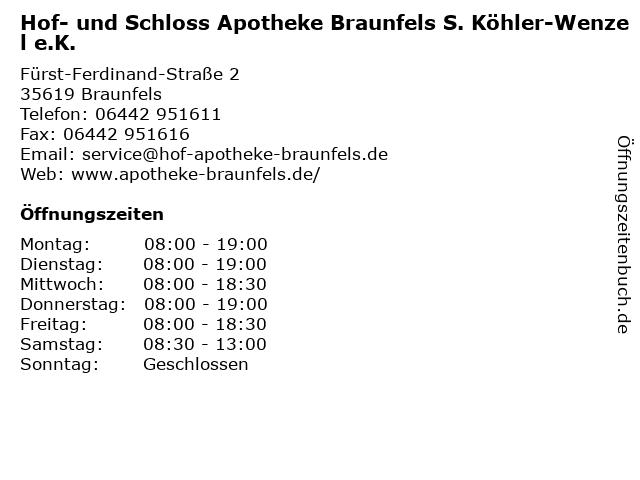 Hof- und Schloss Apotheke Braunfels S. Köhler-Wenzel e.K. in Braunfels: Adresse und Öffnungszeiten