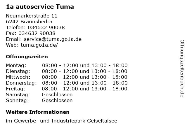 1a autoservice Tuma in Braunsbedra: Adresse und Öffnungszeiten