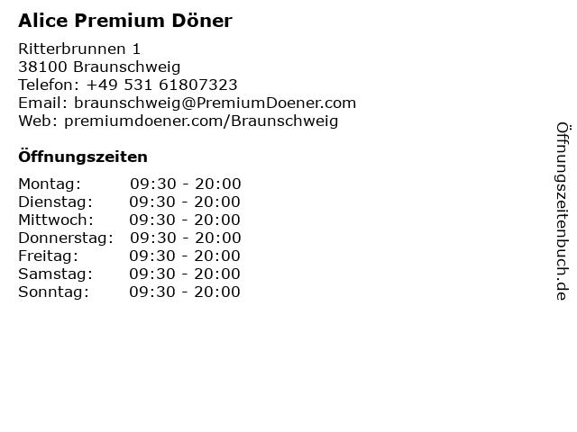 Alice Premium Döner in Braunschweig: Adresse und Öffnungszeiten
