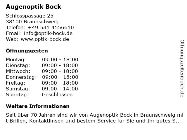 Augenoptik Bock in Braunschweig: Adresse und Öffnungszeiten