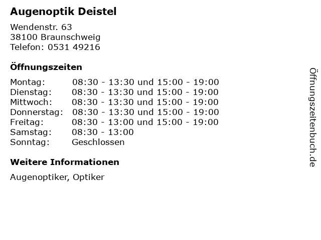 Augenoptik Deistel in Braunschweig: Adresse und Öffnungszeiten