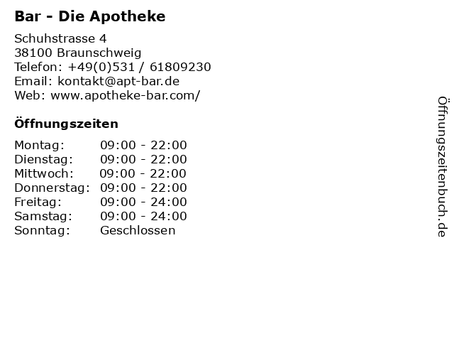 ᐅ öffnungszeiten Bar Die Apotheke Schuhstrasse 4 In Braunschweig