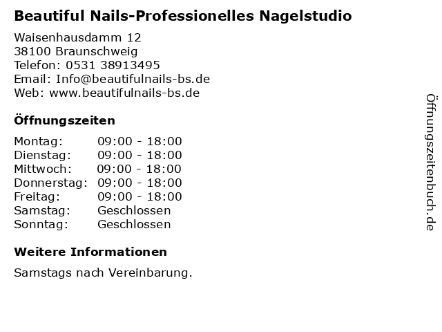 Beautiful Nails-Professionelles Nagelstudio in Braunschweig: Adresse und Öffnungszeiten