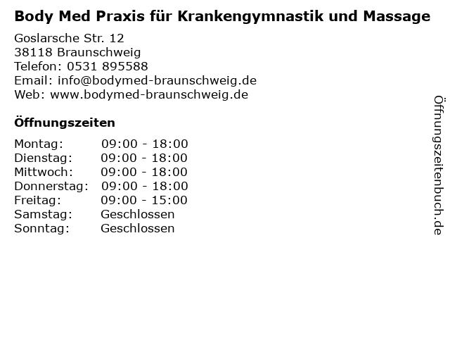 Body Med Praxis für Krankengymnastik und Massage in Braunschweig: Adresse und Öffnungszeiten