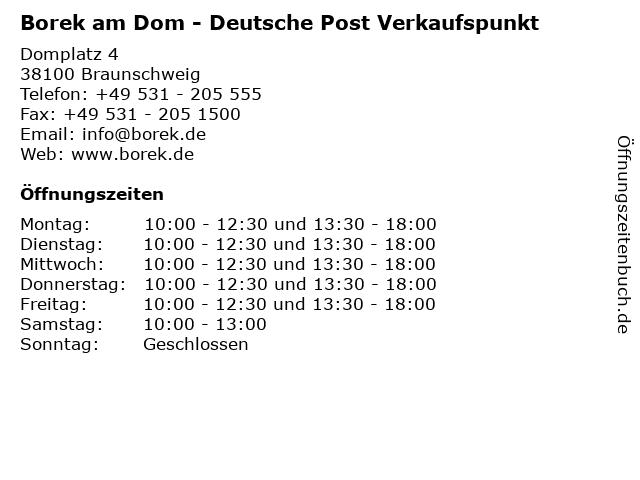 Borek am Dom - Deutsche Post Verkaufspunkt in Braunschweig: Adresse und Öffnungszeiten
