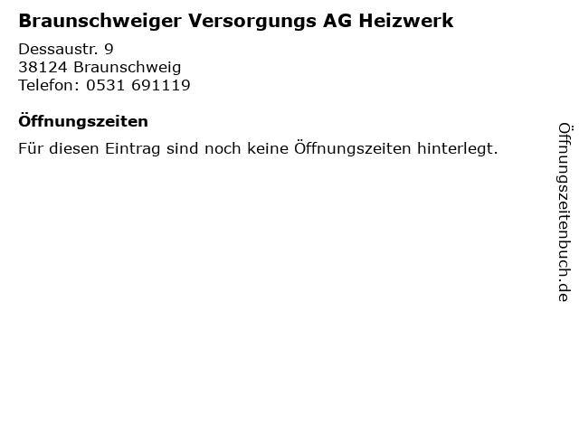 Braunschweiger Versorgungs AG Heizwerk in Braunschweig: Adresse und Öffnungszeiten