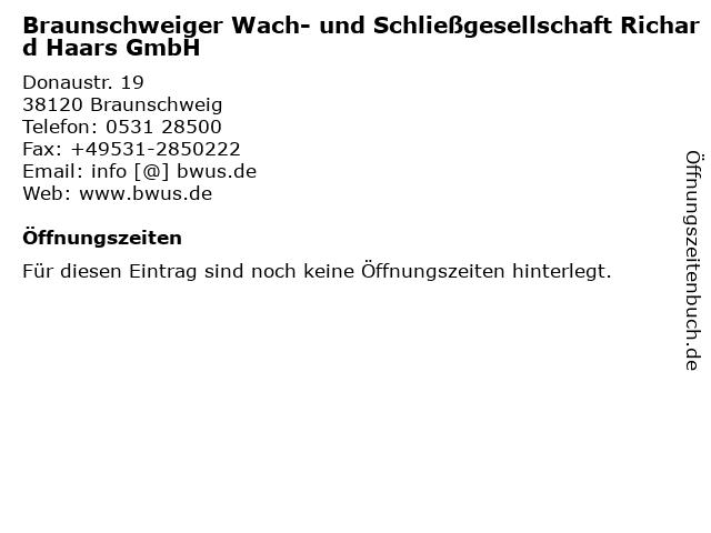 Braunschweiger Wach- und Schließgesellschaft Richard Haars GmbH in Braunschweig: Adresse und Öffnungszeiten