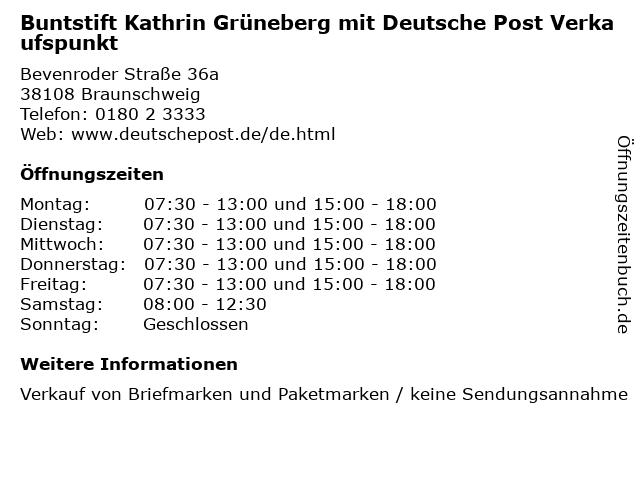 Buntstift Kathrin Grüneberg mit Deutsche Post Verkaufspunkt in Braunschweig: Adresse und Öffnungszeiten