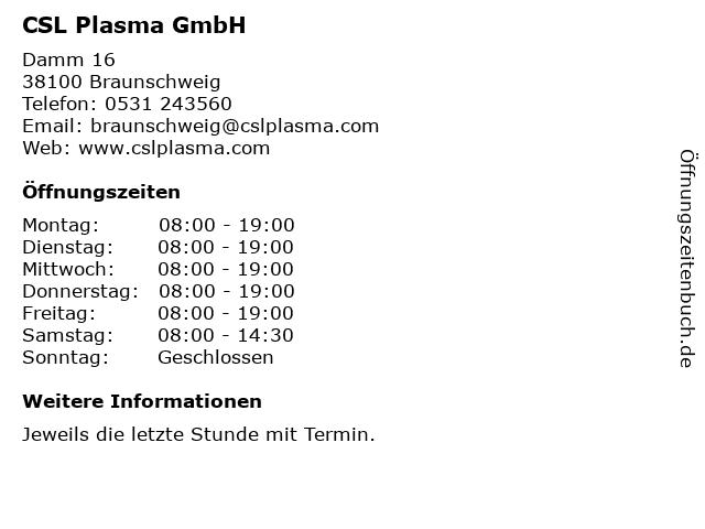 CSL Plasma GmbH in Braunschweig: Adresse und Öffnungszeiten
