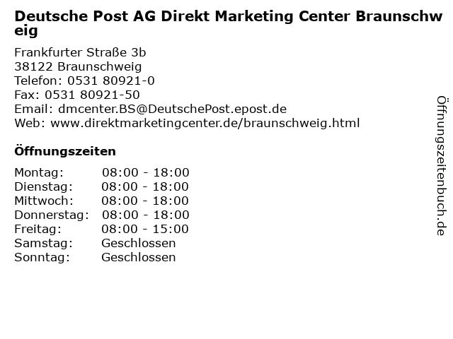 Deutsche Post AG Direkt Marketing Center Braunschweig in Braunschweig: Adresse und Öffnungszeiten