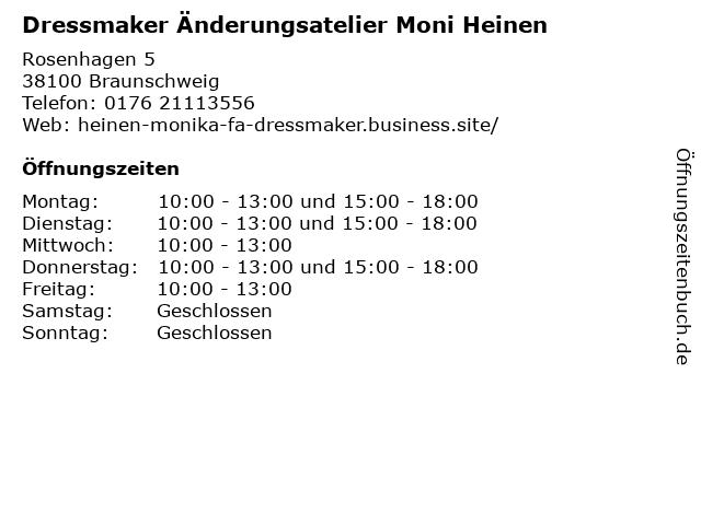 Dressmaker Änderungsatelier Moni Heinen in Braunschweig: Adresse und Öffnungszeiten