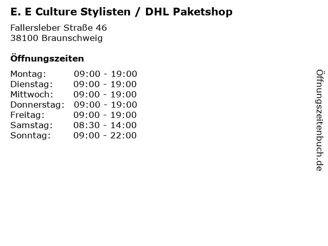 E. E Culture Stylisten / DHL Paketshop in Braunschweig: Adresse und Öffnungszeiten