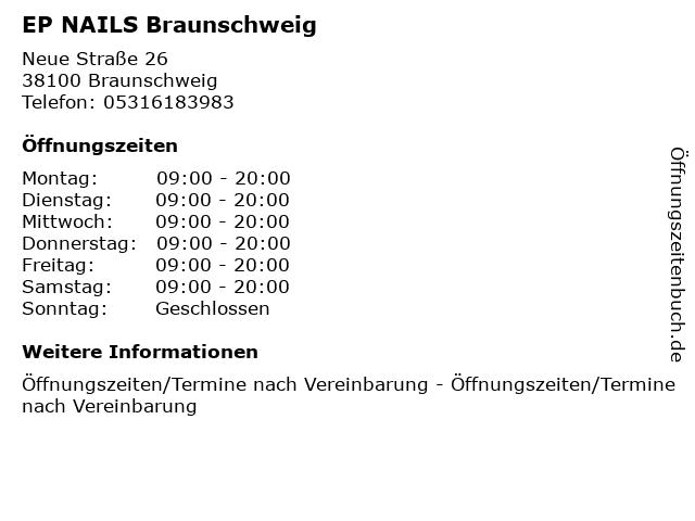 EP NAILS Braunschweig in Braunschweig: Adresse und Öffnungszeiten