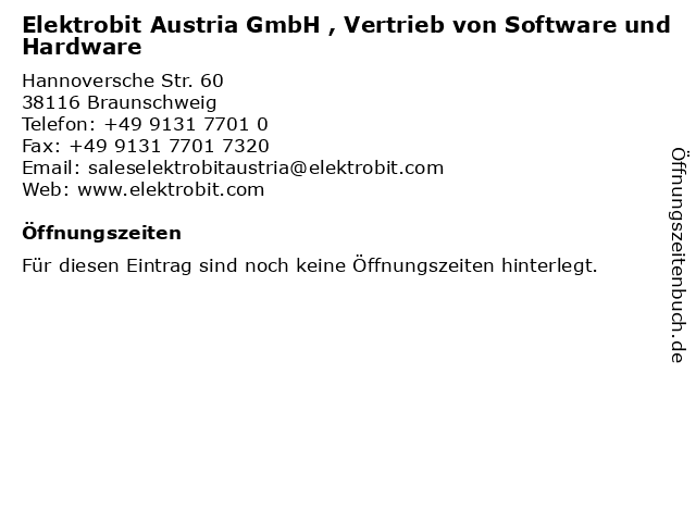 Elektrobit Austria GmbH , Vertrieb von Software und Hardware in Braunschweig: Adresse und Öffnungszeiten
