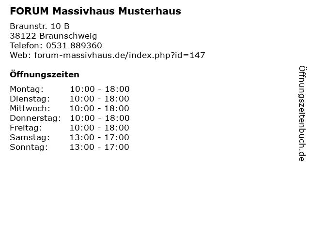 ᐅ Offnungszeiten Forum Massivhaus Musterhaus Braunstr 10 B In