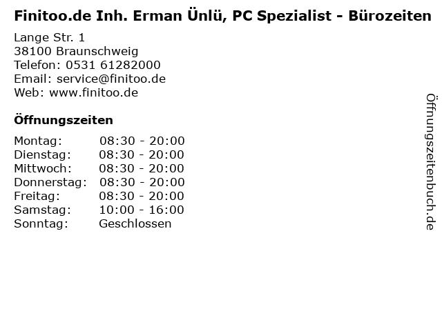 Finitoo.de Inh. Erman Ünlü, PC Spezialist - Bürozeiten in Braunschweig: Adresse und Öffnungszeiten