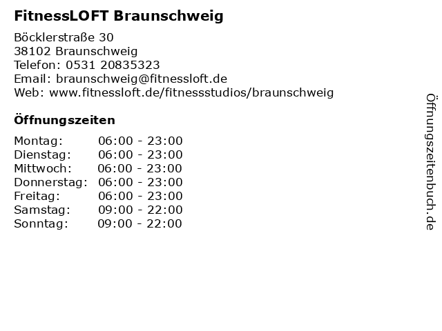 Fitnessloft in Braunschweig: Adresse und Öffnungszeiten