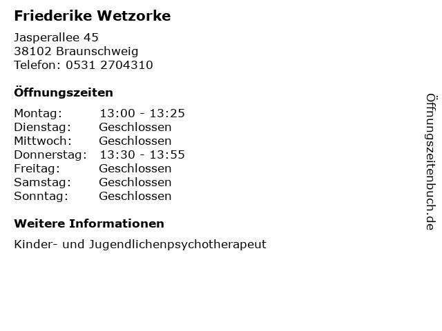 Friederike Wetzorke in Braunschweig: Adresse und Öffnungszeiten
