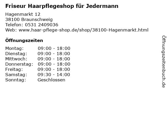 Friseur Haarpflegeshop für Jedermann in Braunschweig: Adresse und Öffnungszeiten