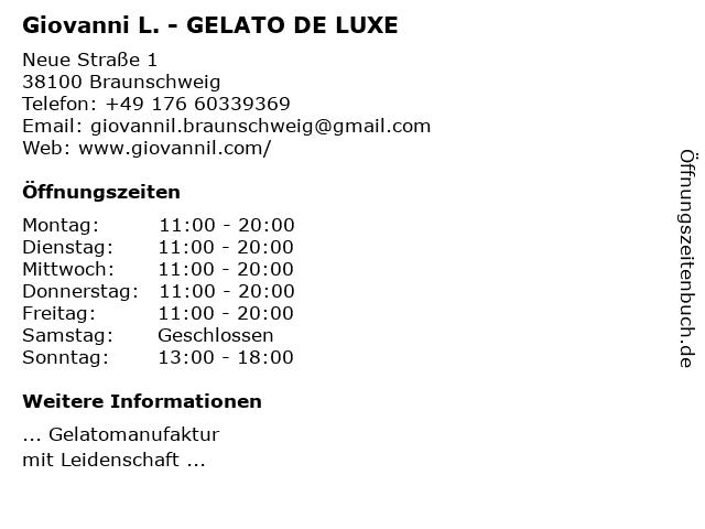 Giovanni L. Gelato De Luxe in Braunschweig: Adresse und Öffnungszeiten