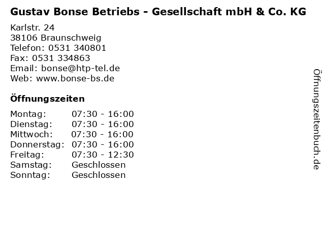Gustav Bonse Betriebs - Gesellschaft mbH & Co. KG in Braunschweig: Adresse und Öffnungszeiten