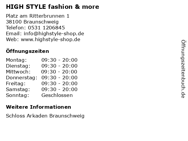 HIGH STYLE fashion & more in Braunschweig: Adresse und Öffnungszeiten