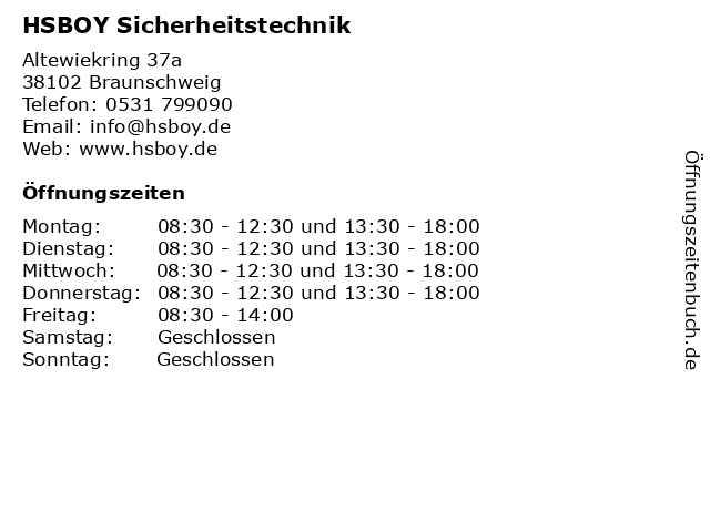 HSBOY Sicherheitstechnik in Braunschweig: Adresse und Öffnungszeiten