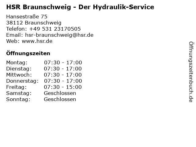 HSR Der Hydraulik-Service in Braunschweig: Adresse und Öffnungszeiten